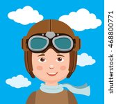 young boy pilot against sky... | Shutterstock .eps vector #468800771