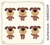 vector set cute puppy dog in... | Shutterstock .eps vector #468803249
