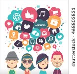 social media icons in speech... | Shutterstock .eps vector #468803831