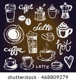 coffee collection   hand drawn... | Shutterstock .eps vector #468809279