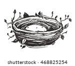 nest sketch. hand drawn vector... | Shutterstock .eps vector #468825254