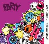 music party kawaii seamless... | Shutterstock .eps vector #468848525