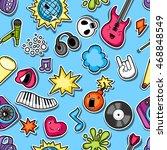 music party kawaii seamless... | Shutterstock .eps vector #468848549