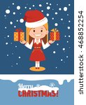 template of holiday postcard.... | Shutterstock . vector #468852254