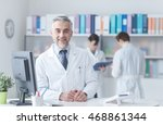 smiling confident doctor at the ...   Shutterstock . vector #468861344