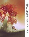 robot rocking the swing under... | Shutterstock . vector #468862544