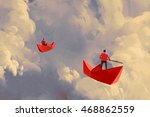 men on origami red paper boats...   Shutterstock . vector #468862559