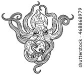 zentangle octopus coloring page.... | Shutterstock .eps vector #468868979