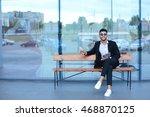 entrepreneur smiling man  puts... | Shutterstock . vector #468870125