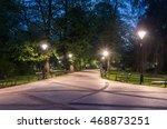 Planty park in the night, Krakow, Poland - stock photo