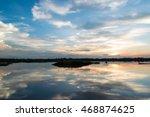 fiery orange sunset sky....   Shutterstock . vector #468874625