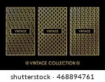 golden vintage pattern on black ... | Shutterstock .eps vector #468894761