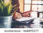 home office desk background... | Shutterstock . vector #468895277