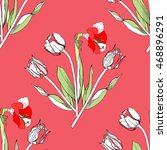 seamless pattern with amaryllis ... | Shutterstock . vector #468896291