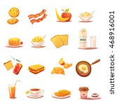 classic breakfast icons... | Shutterstock .eps vector #468916001
