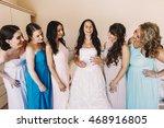 bridesmaids in pastel dresses...   Shutterstock . vector #468916805