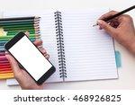 woman girl holding smartphone... | Shutterstock . vector #468926825