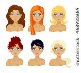 women with different hairstyles.... | Shutterstock .eps vector #468933689