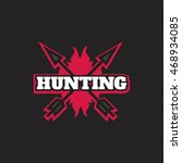 hunting logo in vintage style.... | Shutterstock .eps vector #468934085