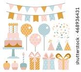 vector set of birthday party... | Shutterstock .eps vector #468936431
