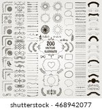 set of 200 black hand drawn... | Shutterstock .eps vector #468942077