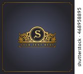 vector floral monogram design ... | Shutterstock .eps vector #468958895