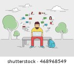 hipster young man is sitting... | Shutterstock .eps vector #468968549