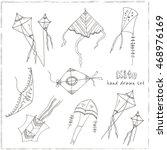 doodle kite set on black...   Shutterstock .eps vector #468976169