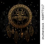 gold dreamcatcher with the bug... | Shutterstock .eps vector #468977117