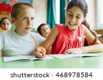 cute boy and girl learn... | Shutterstock . vector #468978584