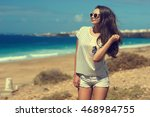 young beautiful stylish girl... | Shutterstock . vector #468984755