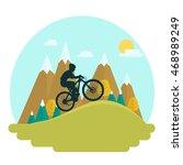 female mountain bike rider on... | Shutterstock .eps vector #468989249