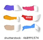 set of holes in white paper... | Shutterstock .eps vector #468991574