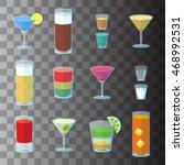 set of cocktails in transparent ... | Shutterstock . vector #468992531