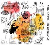 spain. hand drawing vector set... | Shutterstock .eps vector #468997889