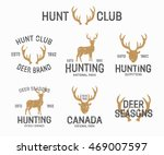 set of vintage hunting and deer ... | Shutterstock . vector #469007597