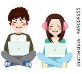 teenagers sitting on floor with ... | Shutterstock .eps vector #469009355
