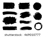 Stock vector vector set of grunge artistic brush strokes design elements empty black backgrounds frames for 469010777