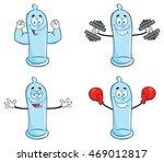 blue condom cartoon mascot... | Shutterstock .eps vector #469012817