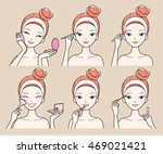 young woman makes up with... | Shutterstock .eps vector #469021421