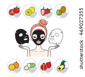 young woman with facial mask... | Shutterstock .eps vector #469027355