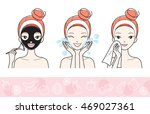 young woman with facial mask... | Shutterstock .eps vector #469027361