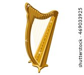 Golden Harp Isolated On A Whit...
