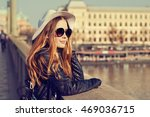 young pretty hipster tourist... | Shutterstock . vector #469036715