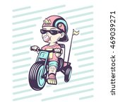 cool little boy on bike with... | Shutterstock .eps vector #469039271