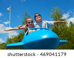 Child Girl And Boy Fly On Blue...