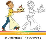 boy with a cake. coloring page... | Shutterstock .eps vector #469049951