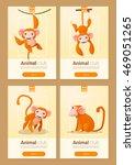 animal banner with monkeys for... | Shutterstock .eps vector #469051265
