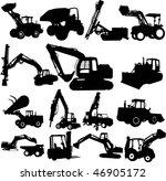 vector excavator silhouette set | Shutterstock .eps vector #46905172