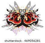 two head of a dragon in grunge... | Shutterstock .eps vector #469056281
